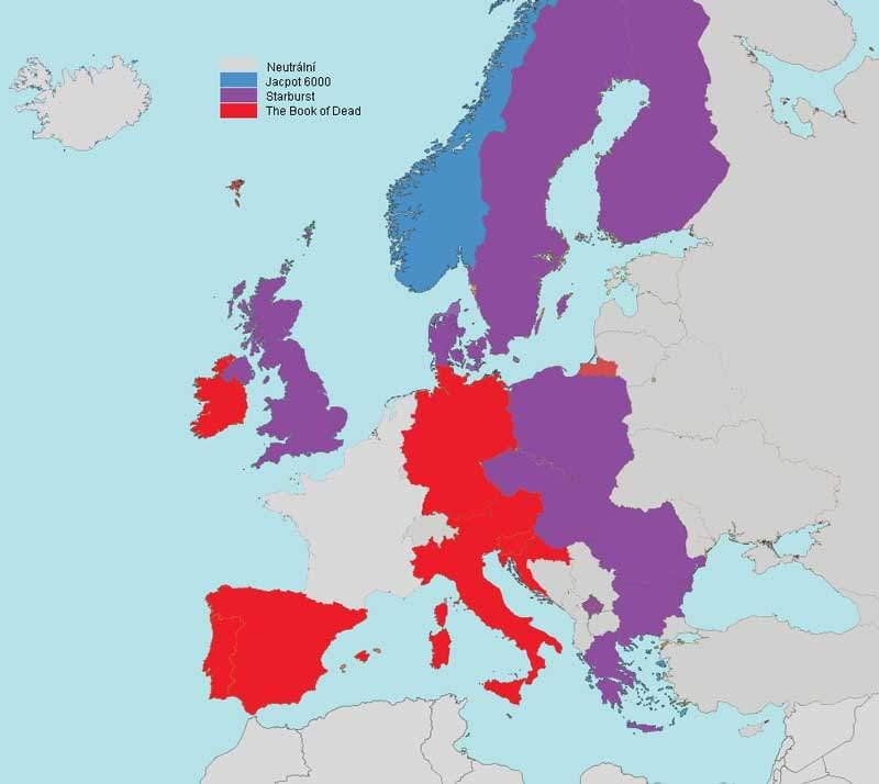 Nejhranější online automaty vjednotlivých evropských zemích